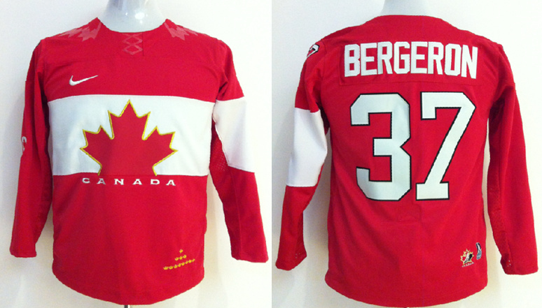 Canada 37 Bergeron Red 2014 Olympics Kids Jerseys
