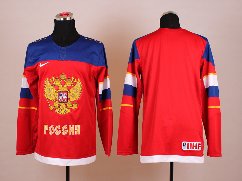 Russia Blank Red 2014 Olympics Jerseys
