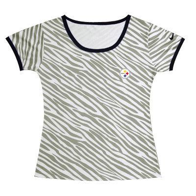 Nike Steelers Chest Embroidered Logo Zebra Women T Shirt