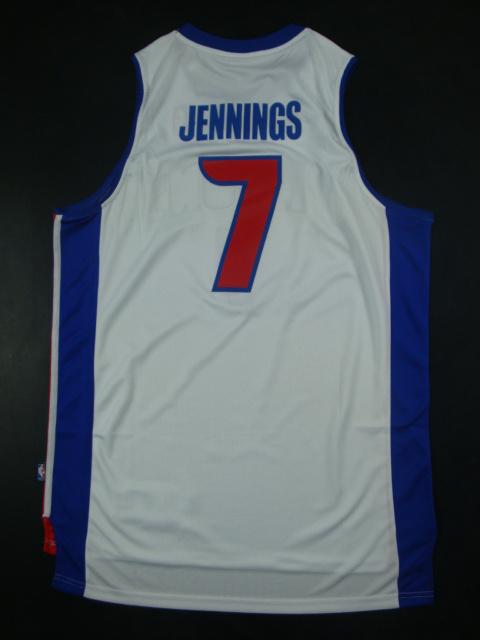 Pistons 7 Jennings White New Revolution 30 Jerseys