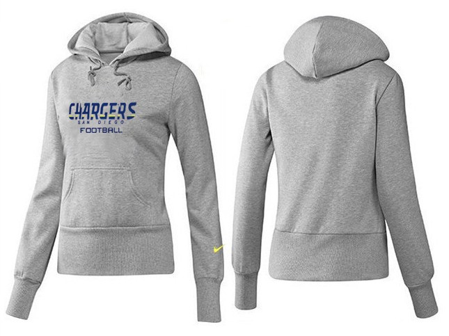 Nike Chargers Team Logo Grey Women Pullover Hoodies 04