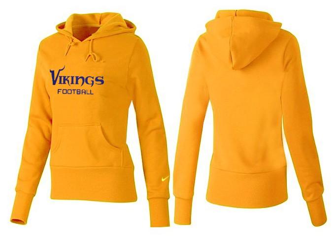 Nike Vikings Team Logo Yellow Women Pullover Hoodies 04