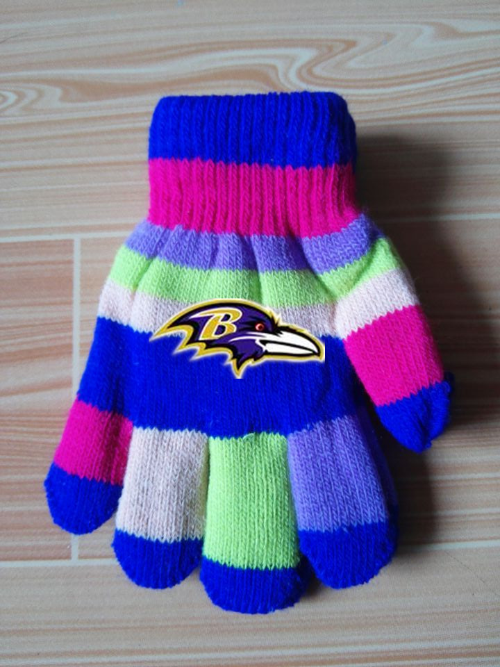 Ravens Kids Knit Gloves