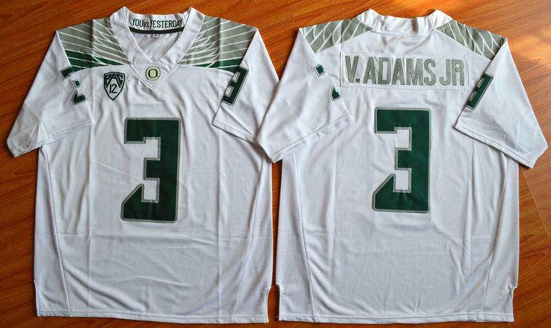 Oregon Ducks 3 V.Adams Jr White College Jersey