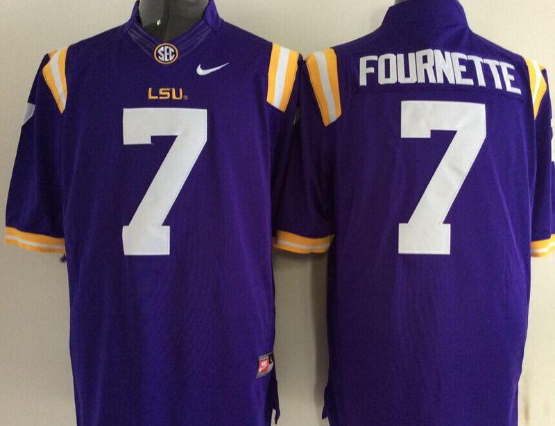 LSU Tigers 7 Leonard Fournette Purple College Jersey