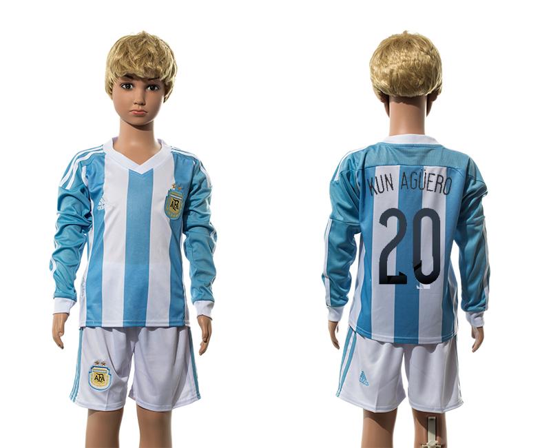 2015-16 Argentina 20 KUN AGUERO Home Long Sleeve Jersey