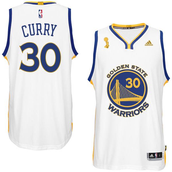 Warriors 30 Stephen Curry White Trophy Banner Swingman Jersey