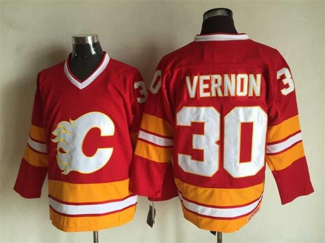 Flames 30 Mike Vernon Red CCM Jersey