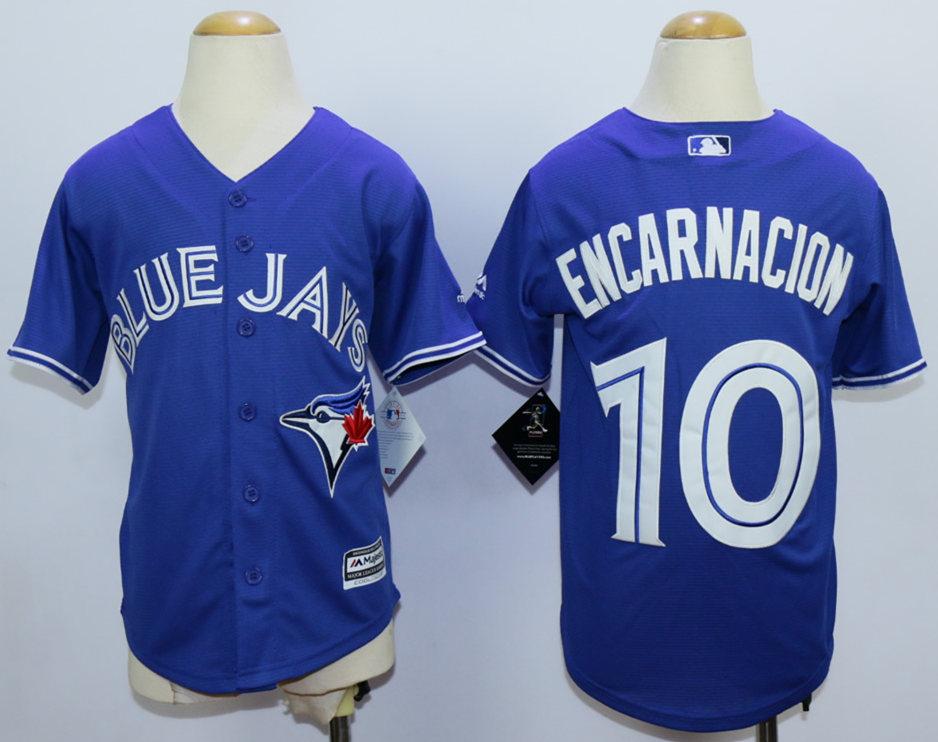Blue Jays 10 Edwin Encarnacion Blue New Cool Base Youth Jersey