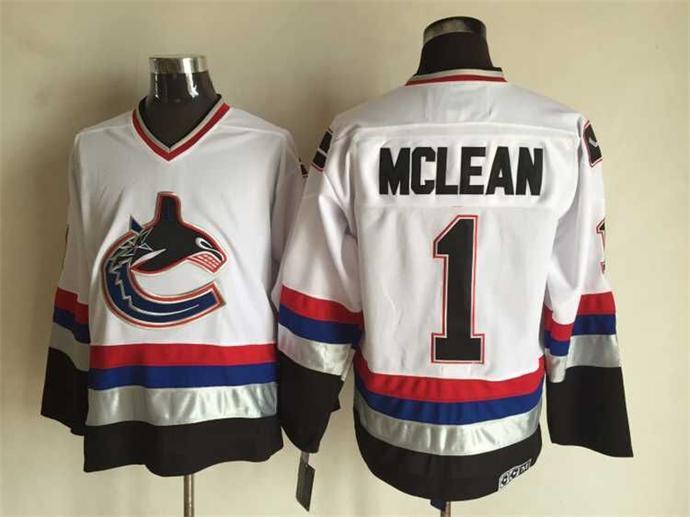 Canucks 1 Kirk Mclean White CCM Jersey