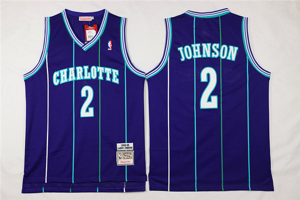 Hornets 2 Larry Johnson Purple Hardwood Classics Jersey