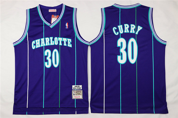 Hornets 30 Dell Curry Purple Hardwood Classics Jersey