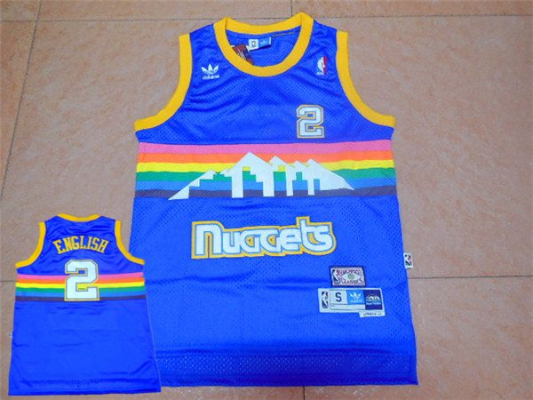 Nuggets 2 Alex English Blue Hardwood Classics Jersey