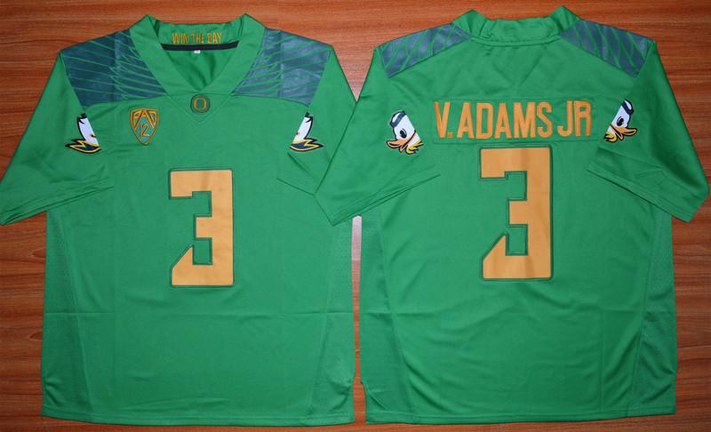 Oregon Ducks 3 V.Adams Jr Green College Jersey