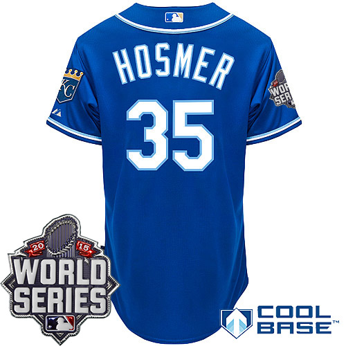 Royals 35 Eric Hosmer Blue With 2015 World Series Cool Base Jersey