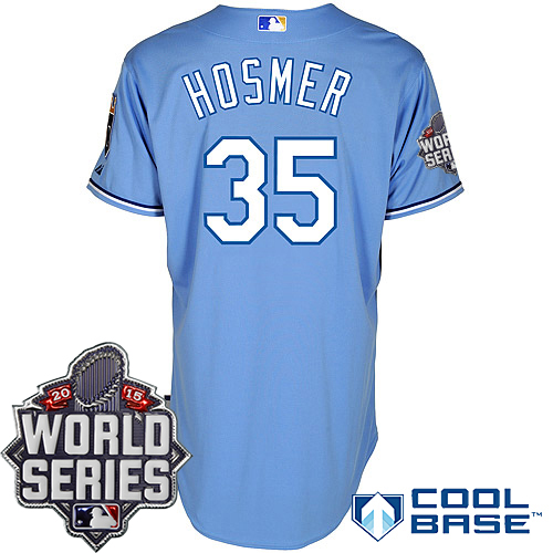 Royals 35 Eric Hosmer Light Blue With 2015 World Series Cool Base Jersey