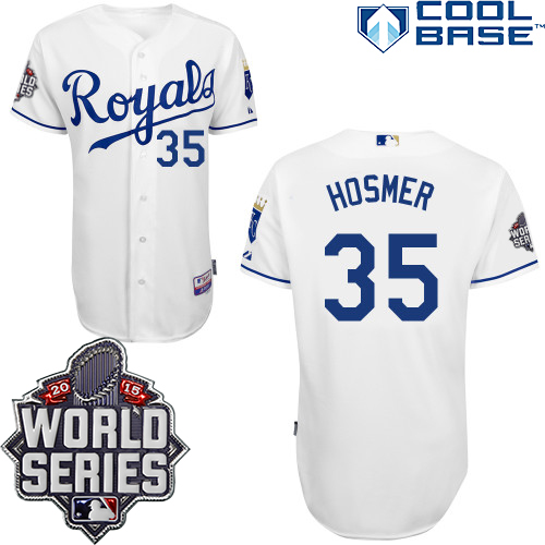 Royals 35 Eric Hosmer White With 2015 World Series Cool Base Jersey