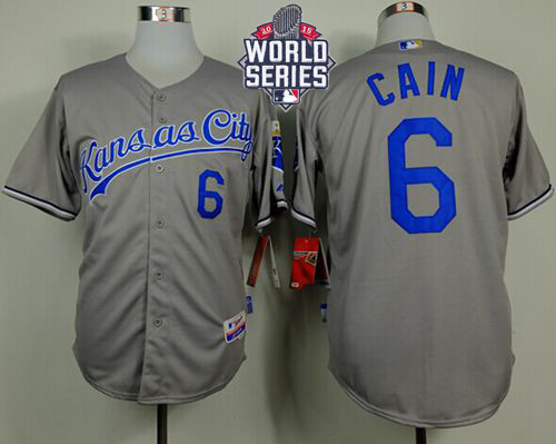 Royals 6 Lorenzo Cain Grey With 2015 World Series Cool Base Jersey