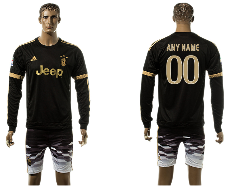 2015-16 Juventus Away Long Sleeve Customized Jersey