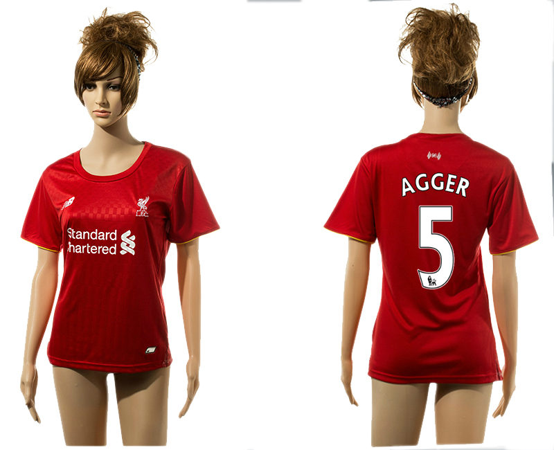 2015-16 Liverpool 5 AGGER Home Women Jersey