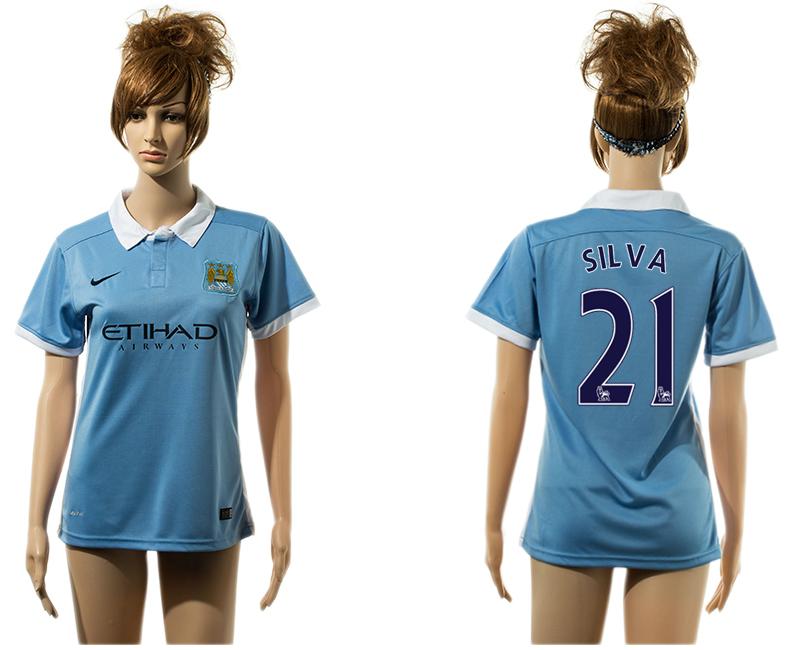 2015-16 Manchester City 21 SILVA Home Women Jersey