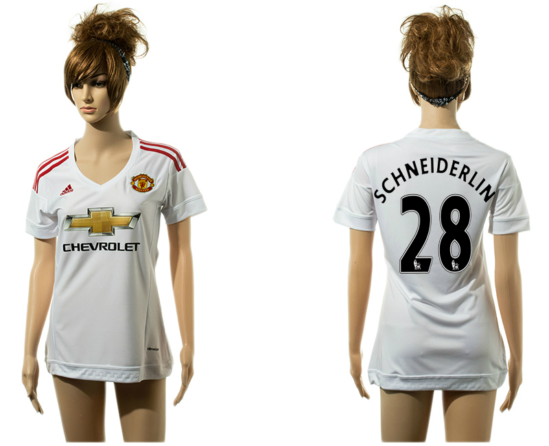2015-16 Manchester United 28 SCHNEIDERLIN Away Women Jersey