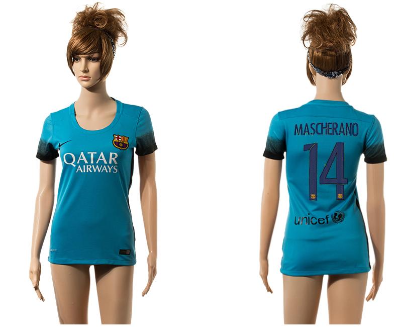 2015-16 Barcelona 14 MASCHERANO Third Away Women Jersey