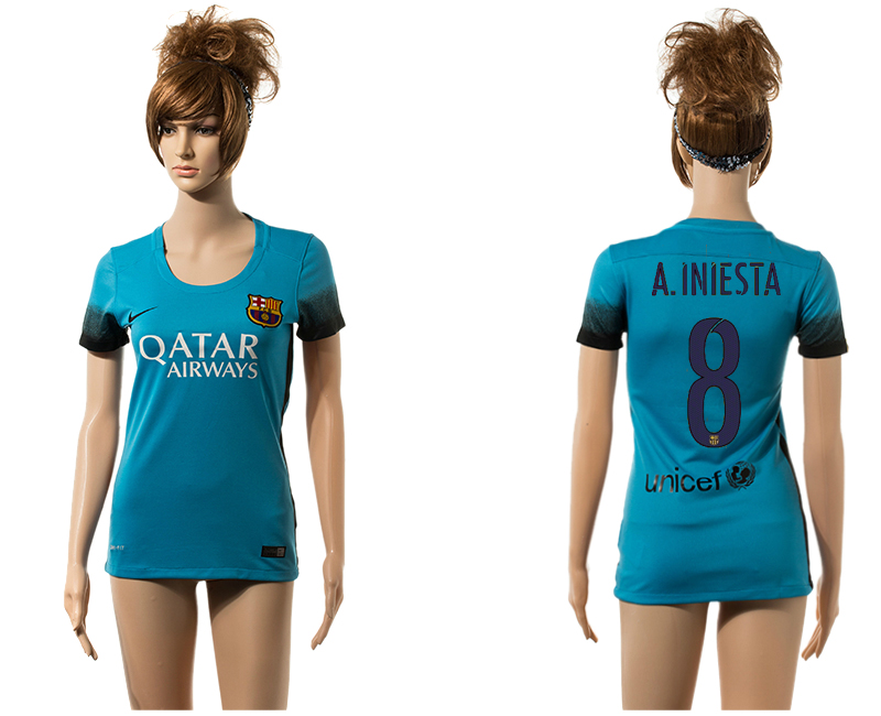 2015-16 Barcelona 8 A.INIESTA Third Away Women Jersey