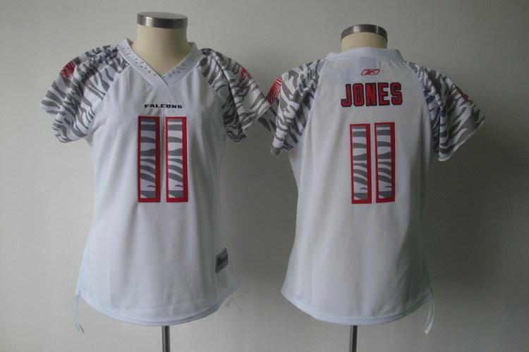 Falcons 11 Julio Jones White Women Zebra Jersey