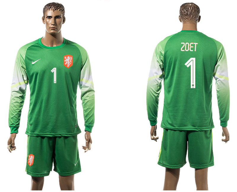 2015-16 Netherlands 1 ZOET Goalkeeper Long Sleeve Jersey