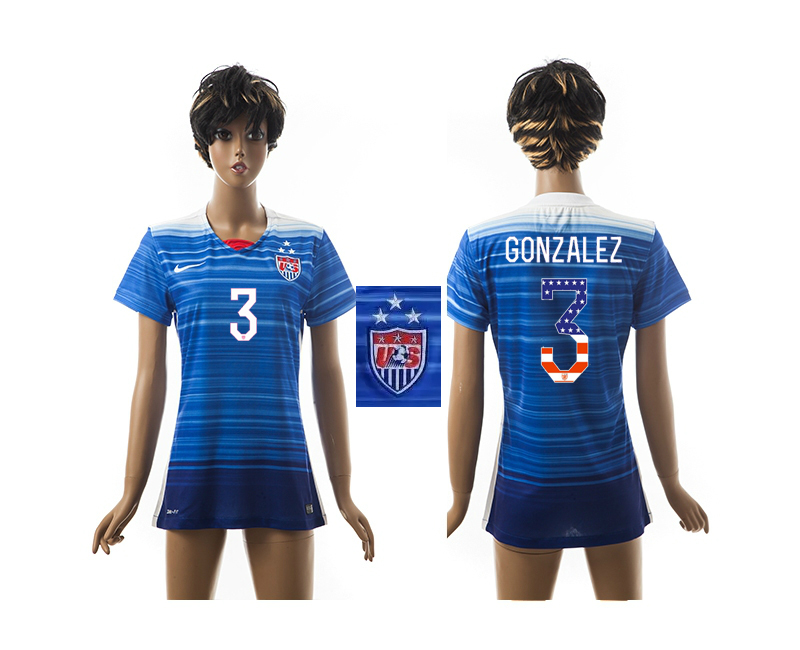 2015-16 USA 3 GONZALEZ Independence Day Women Away Jersey