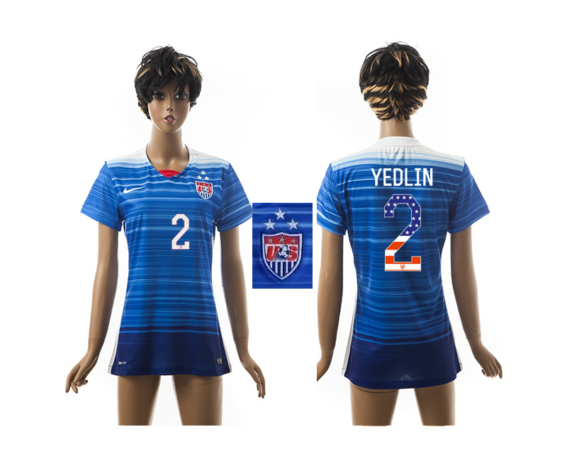 2015-16 USA 2 YEDLIN Independence Day Women Away Jersey