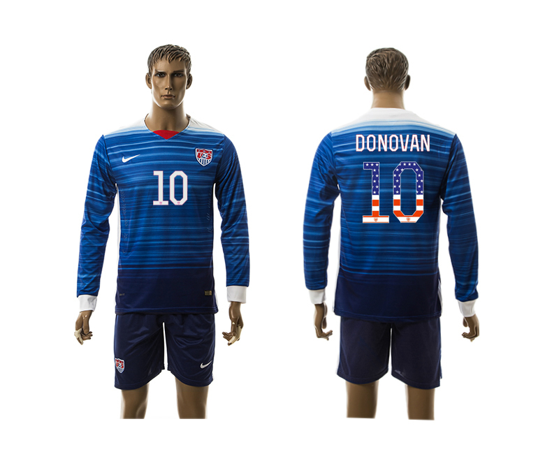 2015-16 USA 10 DONOVAN Independence Day Away Long Sleeve Jersey