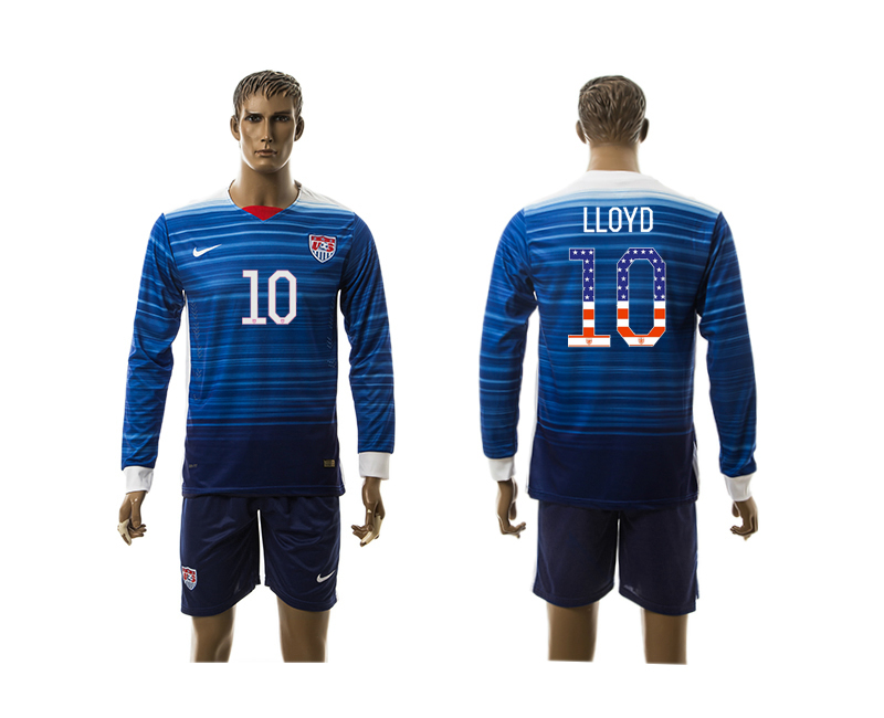 2015-16 USA 10 LLOYD Independence Day Away Long Sleeve Jersey