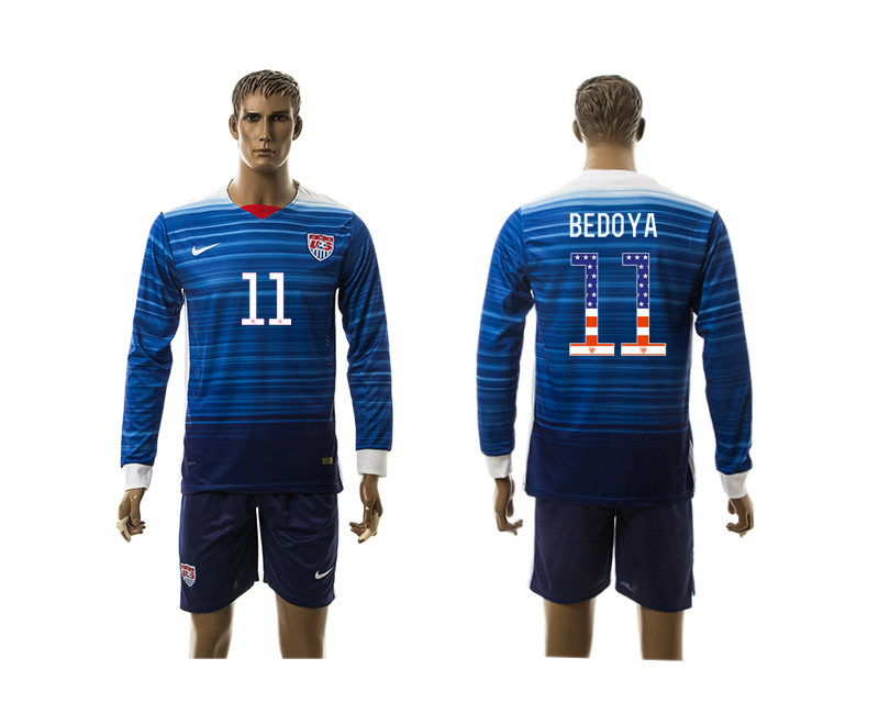 2015-16 USA 11 BEDOYA Independence Day Away Long Sleeve Jersey
