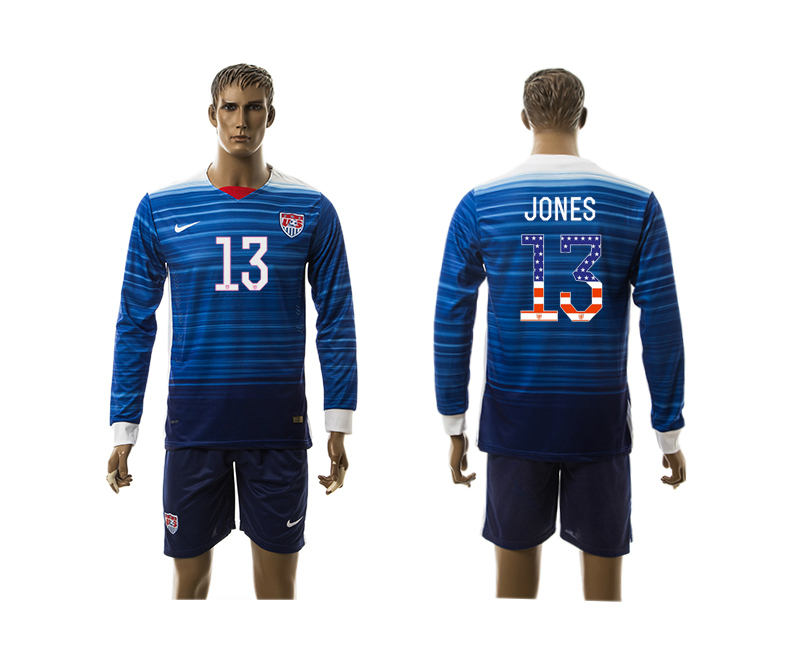 2015-16 USA 13 JONES Independence Day Away Long Sleeve Jersey