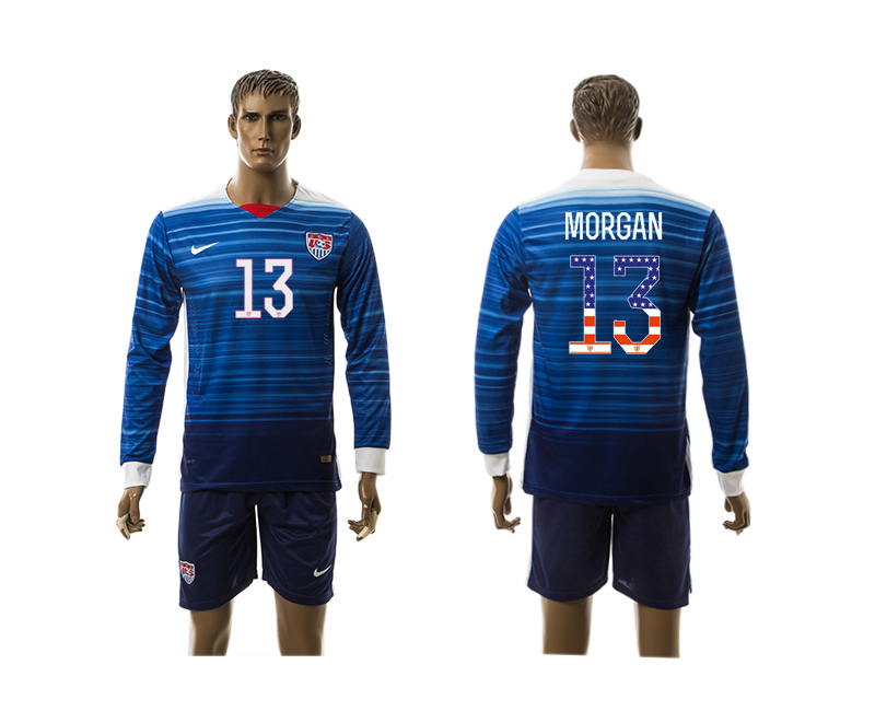 2015-16 USA 13 MORGAN Independence Day Away Long Sleeve Jersey