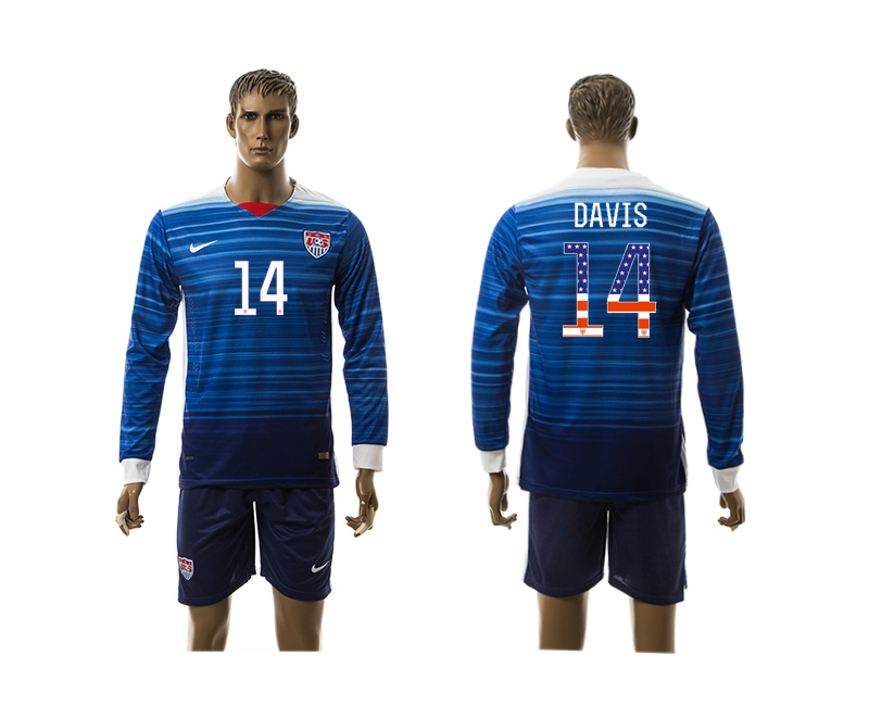 2015-16 USA 14 DAVIS Independence Day Away Long Sleeve Jersey