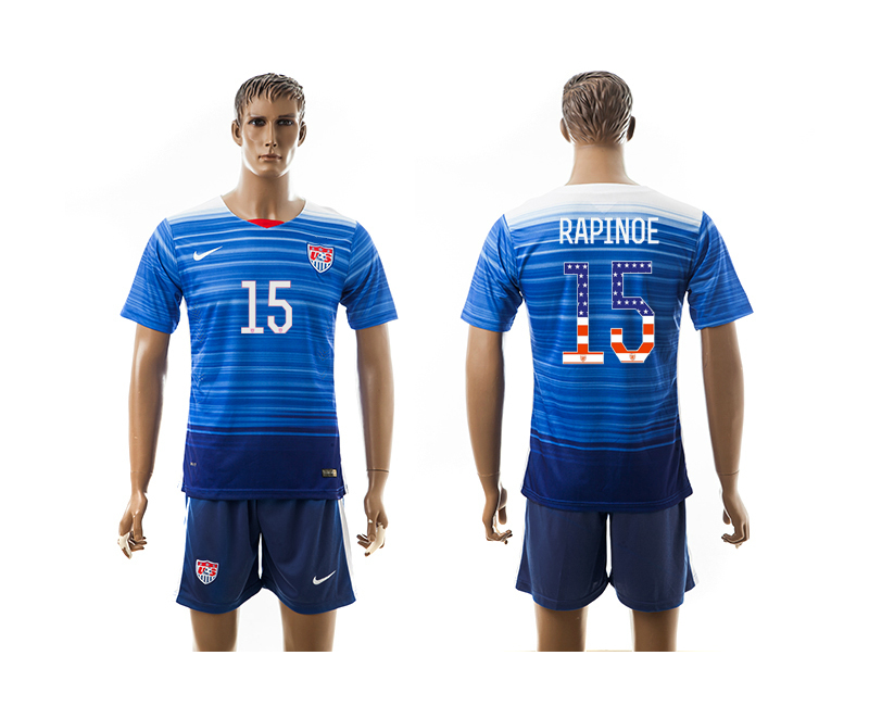 2015-16 USA 15 RAPINOE Independence Day Away Jersey