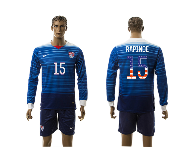 2015-16 USA 15 RAPINOE Independence Day Away Long Sleeve Jersey