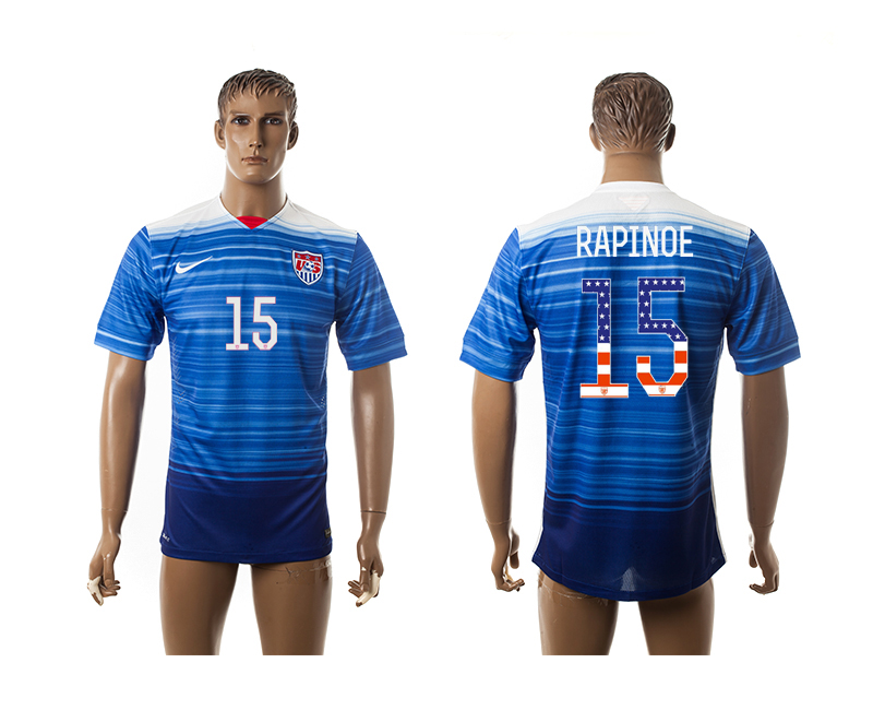 2015-16 USA 15 RAPINOE Independence Day Away Thailand Jersey