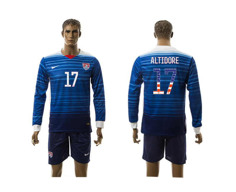 2015-16 USA 17 ALTIDORE Independence Day Away Long Sleeve Jersey