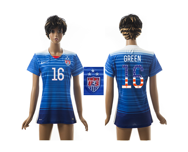 2015-16 USA 16 GREEN Independence Day Women Away Jersey