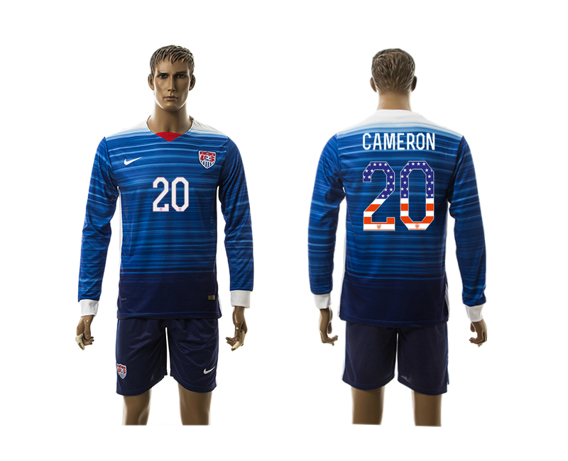 2015-16 USA 20 CAMERON Independence Day Away Long Sleeve Jersey