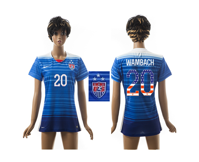2015-16 USA 20 WAMBACH Independence Day Women Away Jersey