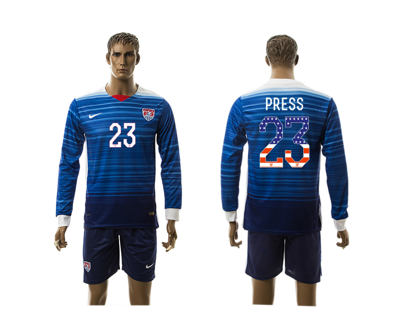 2015-16 USA 23 PRESS Independence Day Away Long Sleeve Jersey