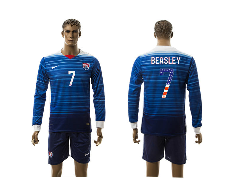 2015-16 USA 7 BEASLEY Independence Day Away Long Sleeve Jersey