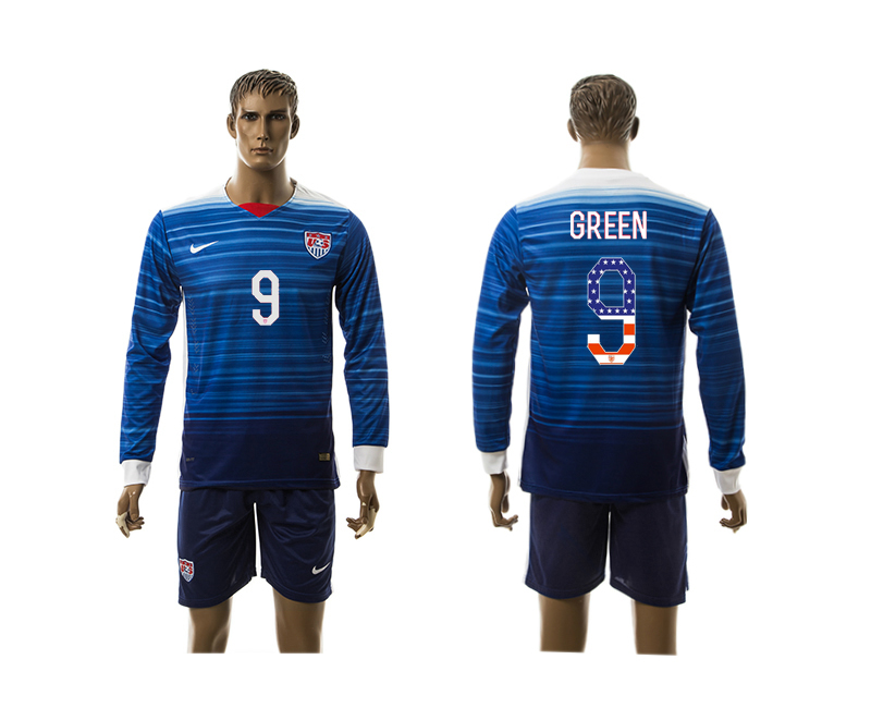 2015-16 USA 9 GREEN Independence Day Away Long Sleeve Jersey