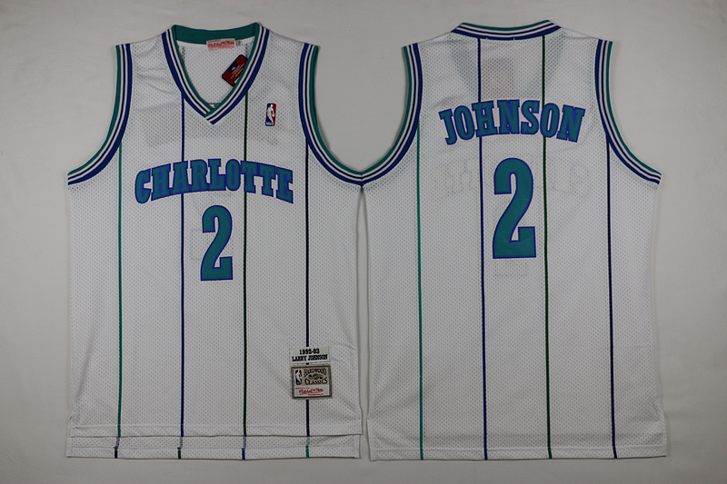 Hornets 2 Larry Johnson White Hardwood Classics Jersey
