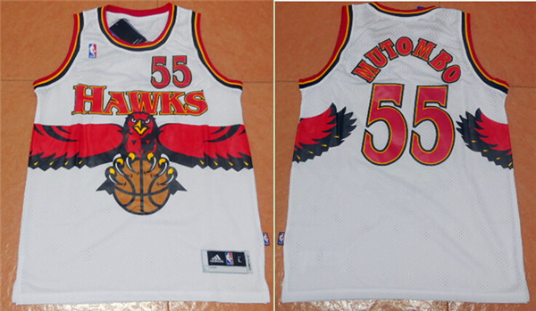 Hawks 55 Dikembe Mutombo White Throwback Stitched Jersey
